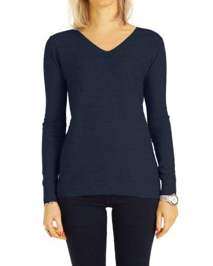 Strick Pullover mit V -Ausschnitt und tollem Muster Top Oberteil Kaschmirpulli  - Damen - t107z