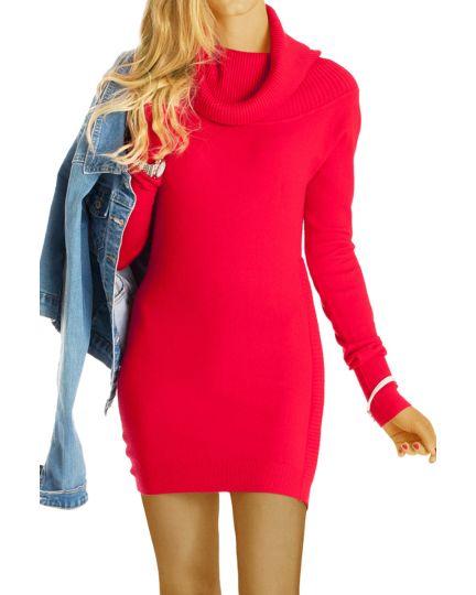 Pullover mit Kaschmir, Minikleider mit Wasserfallkragen - Long Pulli im Slim Fit - Damen - t54z