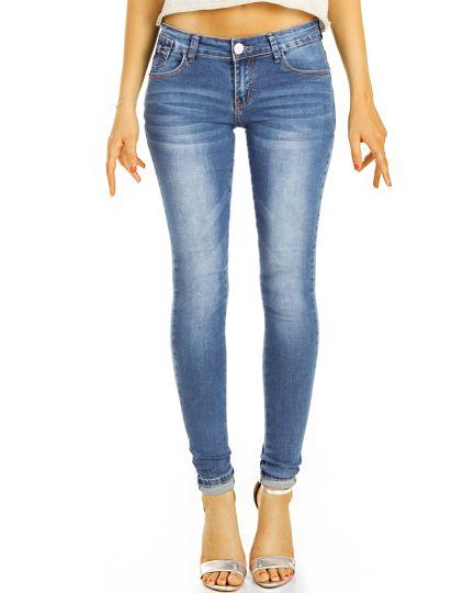 Low Waist Jeans Hüftjeans Röhrenjeans Skinny Hosen - Damen -  j17L-3