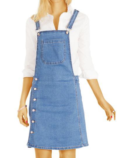 Damen Jeans Trägerkleid - Knielanges Latzkleid Bragetto Rock- Frauen - k80p-Q