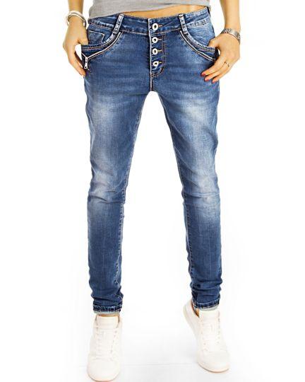 Baggy Boyfriend Low Waist Hüftjeans Hose bequem weit locker - Reißverschluss Design - Damen- j4f