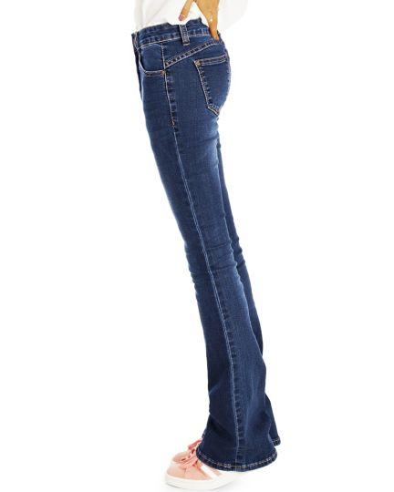 Bootcut Medium Waist Jeans Dukelblaue Stretch Schlaghosen- Damen -  j13m-Q