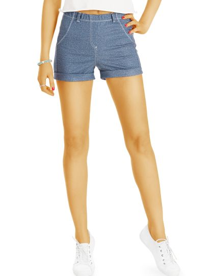 Shorts - kurze Hosen im Jeans design High Waisted Hotpants im Jeggings Look -  Damen - j53i-Q