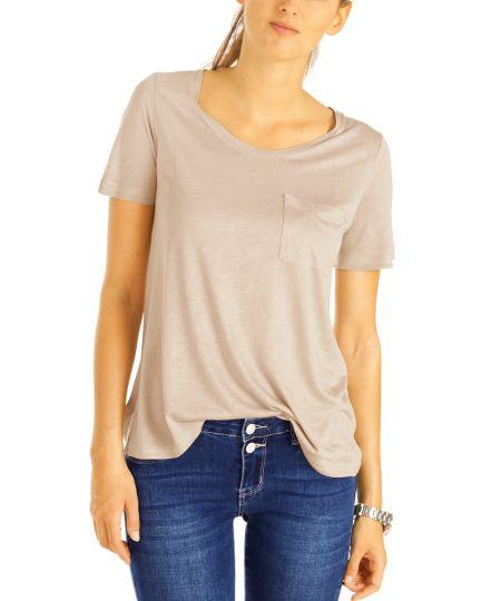 Rundhals Shirt locker & bequem geschnitten, Top Oberteil T-Shirt - Damen - t85z