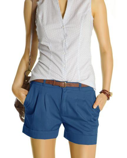 Chino Shorts - Kurze elegante Hosen mit Bundfalten - Damen -  j161p