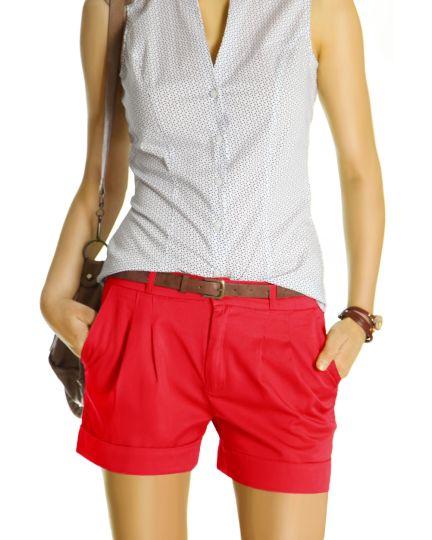 Damen Chino Shorts - Kurze elegante Hosen mit Bundfalten - j161p