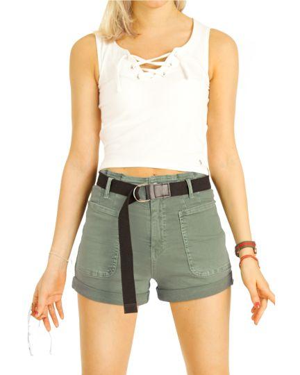 Chino Shorts, kurze, moderne Hosen mit Gürtel - Damen - j14e