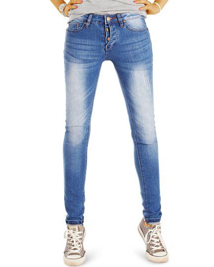 Röhrenjeans Medium Waist - Stone Washed Jeans Hose slim fit - Damen - j50i-Q