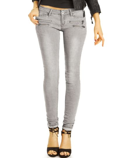 Low Waist Jeans Hüftjeans Röhrenjeans Skinny Stretch Hose grau - Damen j18f
