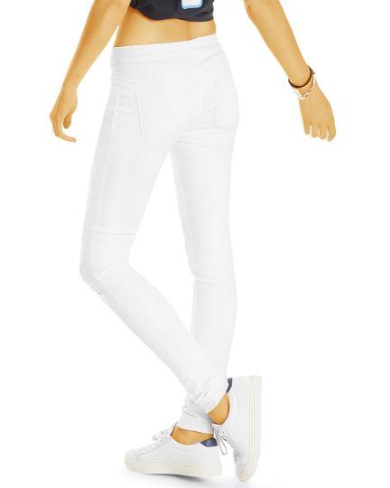 Weiße Medium Waist Skinny Jeans - Hoch sitzende Hosen Röhrenjeans mit zerrissenen Knien - Damen - j22k-Q