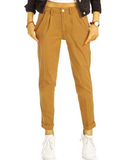 Chinos, Stoffhosen, klassische Hosen mit Bundfalten und Stretch - Damen - j20L-1