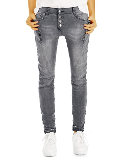 Baggy Hüftjeans Tappered Relaxed Fit - Lockere Performance Stretch Jeanshose - Frauen- j2k-Q