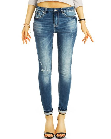 Röhrenjeans Skinny Fit Blue Jeans Medium Waist  Jeans aus Stretch Denim - Damen - j30k-1