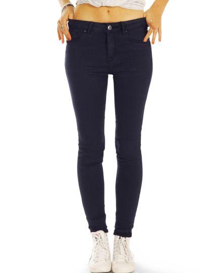 Medium Waist Röhrenjeans Skinny Fit Stretch Hose in dunkelblau - Damen - 25i