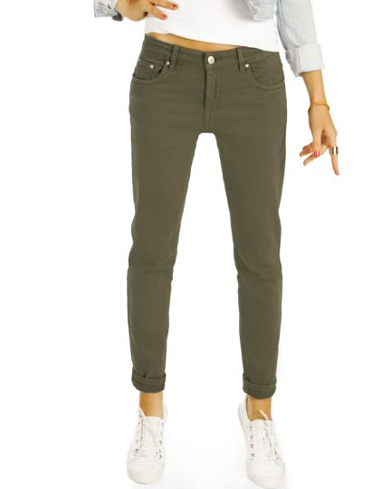 Relaxed Fit Stretch Röhrenjeans Hose in Khaki, festes Material - Damen - j11g-Q