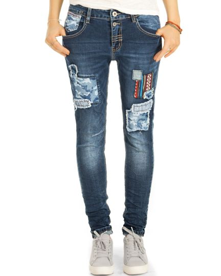 Medium Waist Tapered Jeans, lockere Designer Hose Stretchjeans - Damen - j14L-3