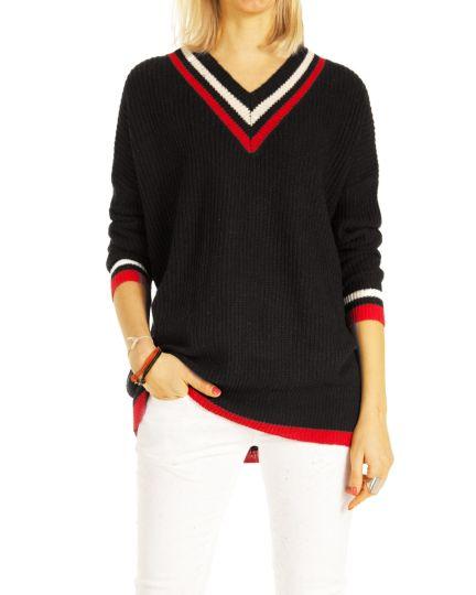 Damen Pullover, Retro Tennis Pullis mit weitem V-Ausschnitt Cricket Grobstrick Top  - Frauen – t111z