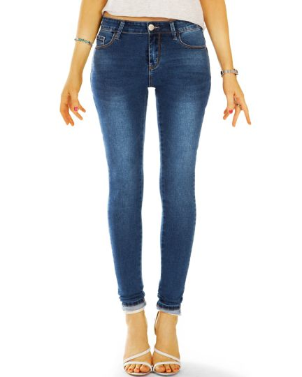 medium waist slim cut Jeans regular denim blaue Jeans stretch Hosen - Damen - j49L