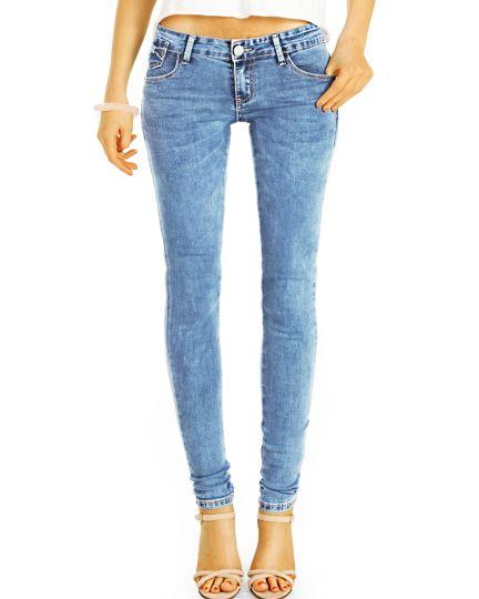 Röhrenjeans Super Skinny Low Waist Jeans Hose hüftige Strecht PushUp Schnitt - Damen - j21i-2