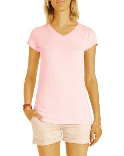 T-Shirt Basic Slim Fit Top - Kurzärmliges Oberteil tailliert und V-Ausschnitt - Damen - t84z