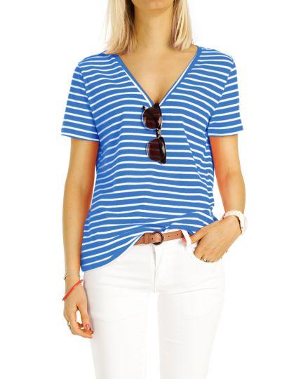 Shirt, gestreiftes  T-Shirt mit V-Ausschnitt Top maritimes Oberteil  - Damen - t94z