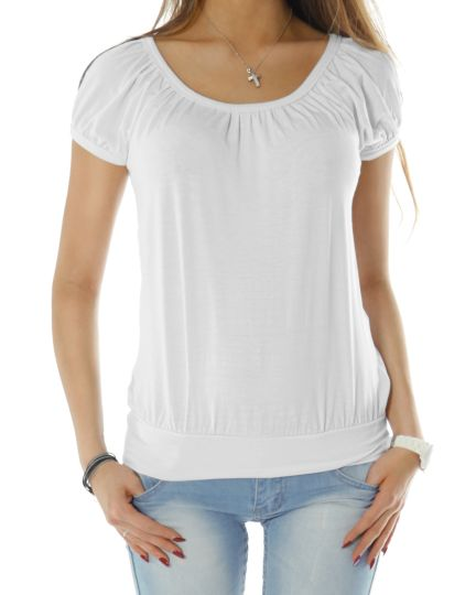 Basic Rundhals Oberteil Damen Top - t56a