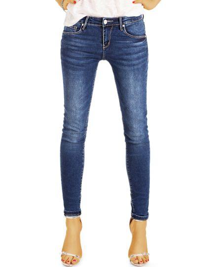Skinny Röhrenjeans Stretch Fit Damen in Used Vintage dunkelblaue medium waist Hose - Damen - j11r