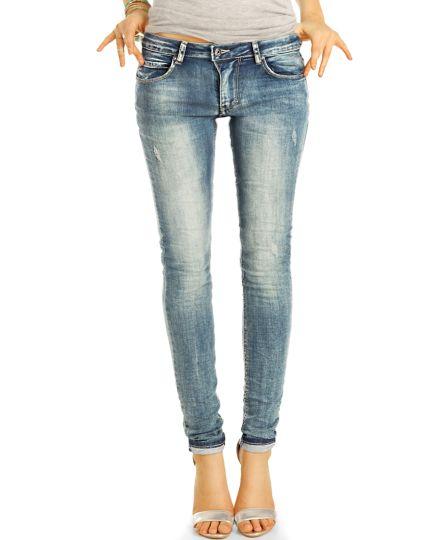 Low Waist destroyed Jeans Hüftjeans Röhrenjeans Vintage Skinny Hosen - Damen -  j4m