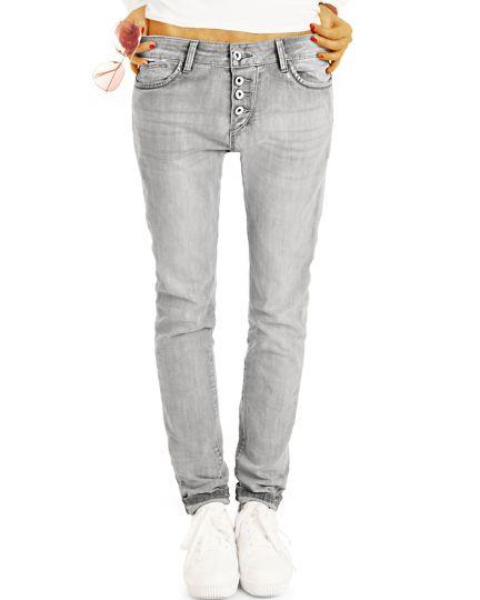 Tapered Boyfriend Jeans, Hüfthose mit Knopfleistelässige lockerer Stretchfit Schnitt - Damen - j20r